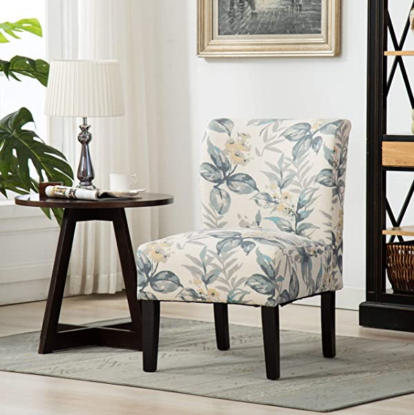 Roundhill Furniture AC117 Capa Print Abric Armless Contemporary Accent Chair Blue Leaves