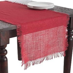 "SARO LIFESTYLE JU209.R20108B linen Mari Sati Collection Fringed Burlap Design Table Runner, 20""x108"" Oblong, Red, 20"" x 108"""
