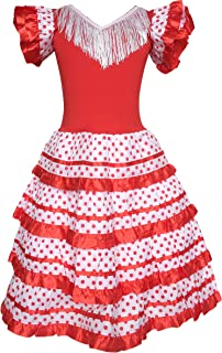 Spanish Flamenco Dress Princess Fancy Dress Costume Girls/Kids Red White