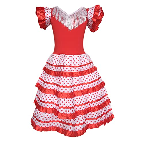 9ffbc4c5cb67 La Senorita Spanish Flamenco Dress Princess Fancy Dress Costume Girls/Kids  Red White