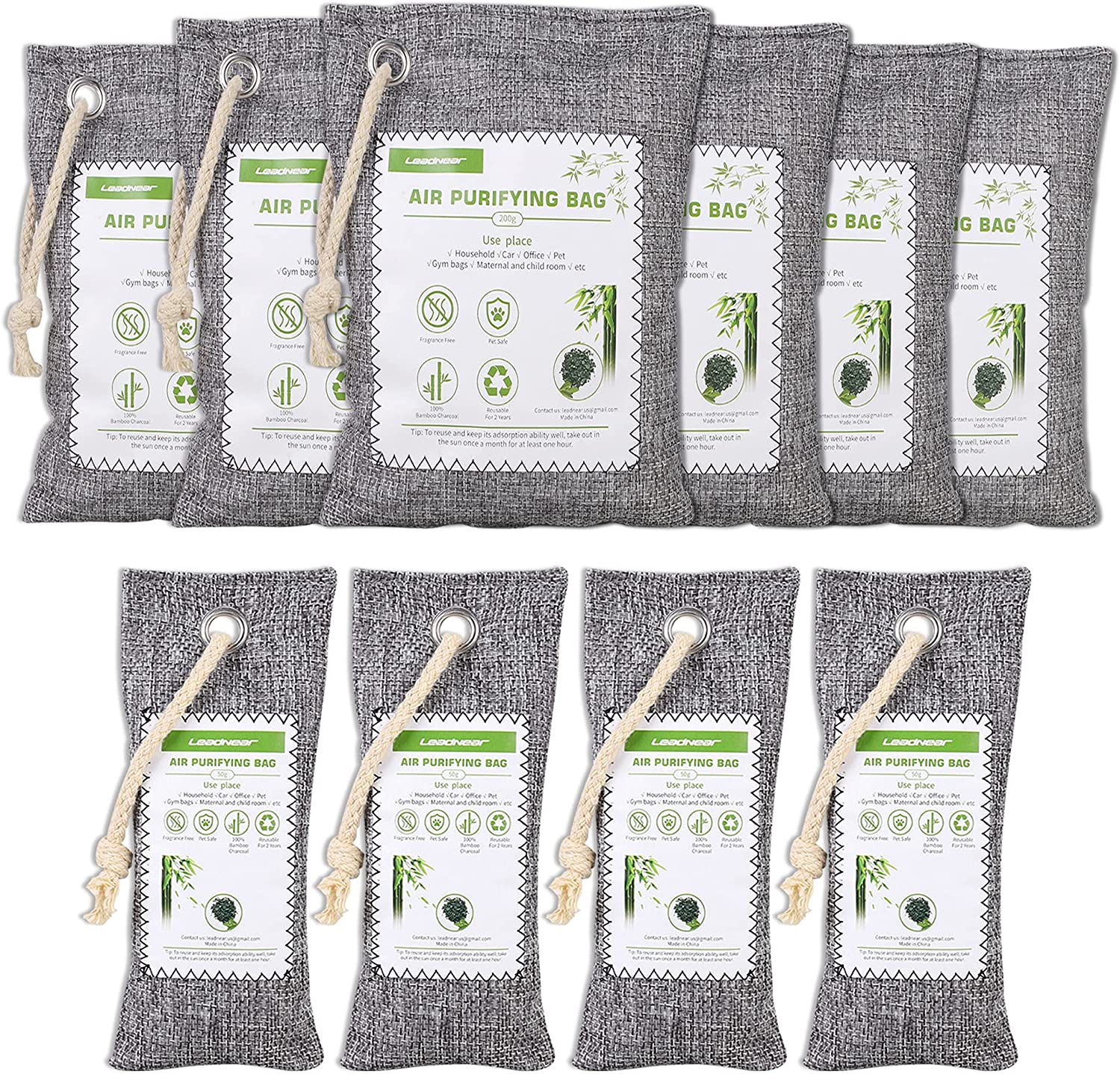 10 Pack Bamboo Charcoal Air Purifying Bags, Activated Charcoal Air Freshener, Nature Fresh Air Purifier Bags, Smell Absorbers for Home, Pet, Closet, Car, Mildew (6x200g, 4x50g) (10)