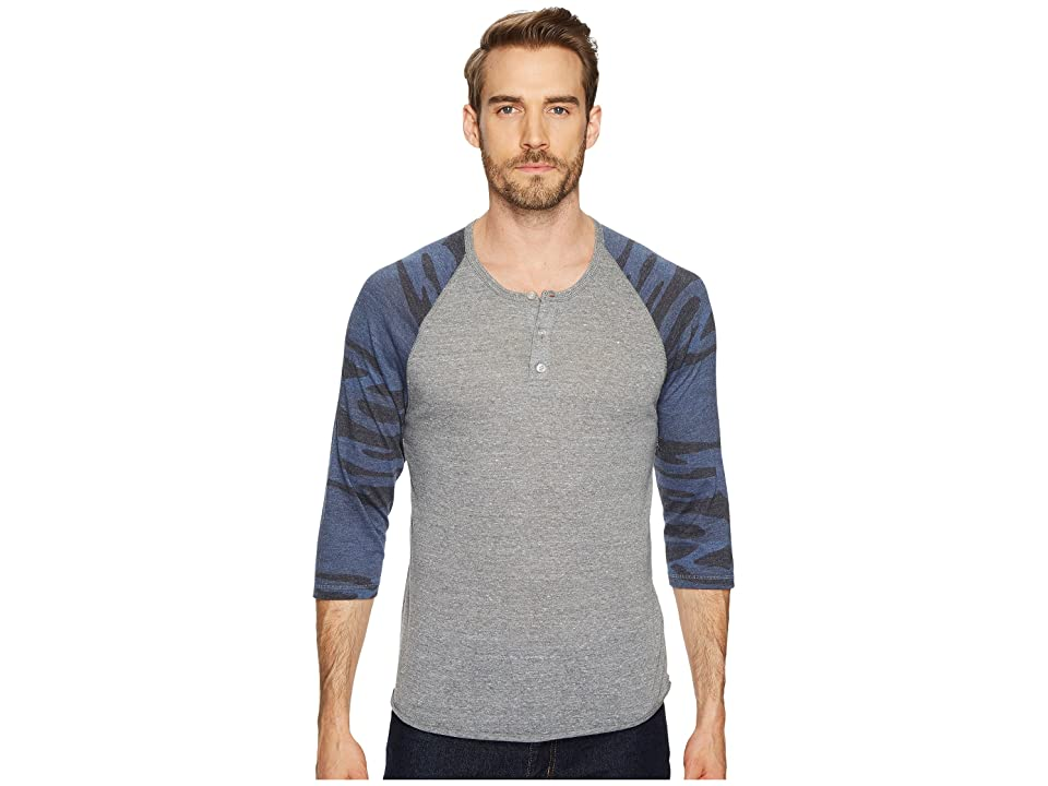 Alternative 3/4 Raglan Henley (Eco Grey/Navy Camo) Men