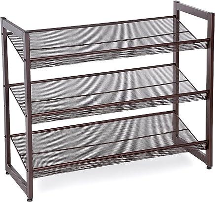 SONGMICS 3-Tier Stackable Metal Shoe Rack Flat Slant Adjustable Shoe Organizer Shelf for Closet Bedroom Entryway Bronze ULMR03A