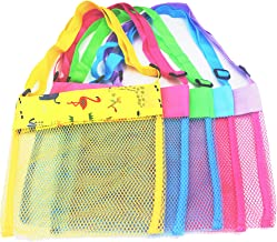 FFHPET Mesh Beach Bags,5 Pack Sand Away Seashell Tote Bags with Adjustable Carrying Straps for Kid's Shell Collection,Seashell Mesh Bags