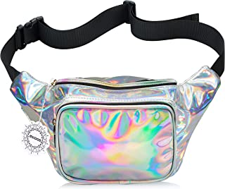 WODODO Fanny Pack for Women Party Waist Festival Money Belt Leather Pouch Concert Holographic Wallet Bum Bag