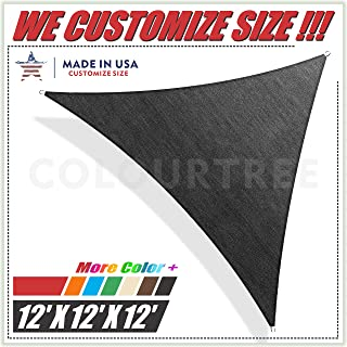ColourTree 12' x 12' x 12' Black Sun Shade Sail Triangle Canopy Awning UV Resistant Heavy Duty Commercial Grade, We Make Custom Size