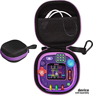 CaseSack case for Leapfrog Rockit Twist Handheld Learning Game System, Kid's Style Design with Shape and Color Matching, Strong Light Weight case, mesh Accessories Pocket (Black with Purple Zip)