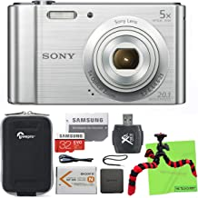 Sony W800/S 20 MP Digital Camera 5X Optical Zoom (Silver) Bundle with 32GB SDHC Memory Card, Flexi Tripod, Lowepro Volta Case, Reader and Lens Cleaning Cloth