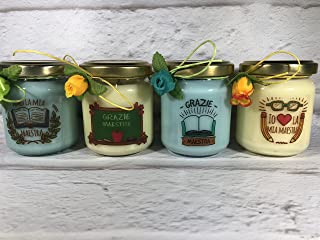 Grazie Maestra 4 vasetti con candele di cera di soia e oli essenziali - Regalo per la Maestra Fine anno scolastico Ritorno...