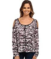 DKNY Jeans - Brushed Floral Printed Cold Shoulder Top