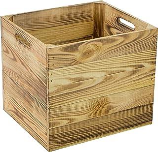 Zestaw 4 drewnianych skrzynek do przechowywania pasuje do ws