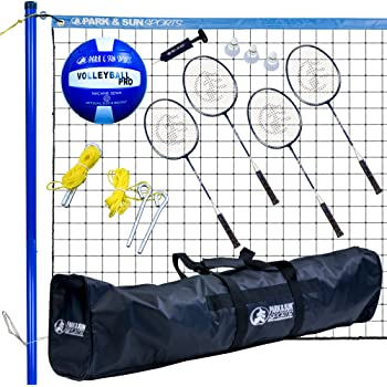 Park & Sun Sports Volley Sport Combo Set: Portable Outdoor Badminton/Volleyball Net System, Blue