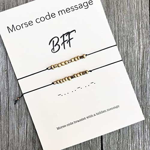 BFF Morse Code Bracelet Set Of 2 Birthday Gift For Best Friend Bff