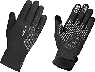 GripGrab Ride Waterproof Winter Thermal Padded Touchscreen Cycling Gloves Fleece-Lined Windproof Black Yellow HiViz