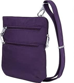 Travelon Anti-Theft Classic Slim Dbl Zip Crossbody Bag, Purple