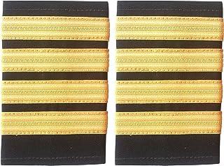 HEUK - Quattro spalline nere a doppia fascia, per piloti di linea o per la marina mercantile, motivo: strisce dorate, in c...
