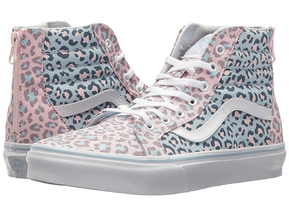 Vans Kids Sk8-Hi Zip (Little Kid/Big Kid) ((Two-Tone Leopard) Chalk Pink/Baby Blue) Girls Shoes