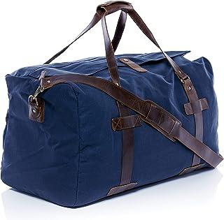 SID & VAIN Reisetasche Canvas & Leder Chase XL Sporttasche groß Weekender Ledertasche Unisex 65 cm blau