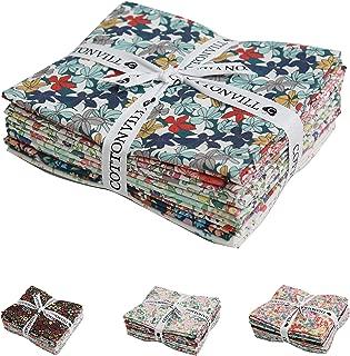 COTTONVILL Precut Fat Quarter Bundle 10pcs Beautiful Flowers Pattern Quilting Fabric (Campanula)