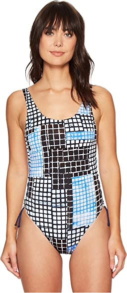 Gridlock One-Piece with Lace-Up Sides