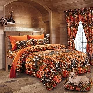 20 Lakes Woodland Hunter Camo Comforter, Sheet, Pillowcase Set (Twin, Orange)