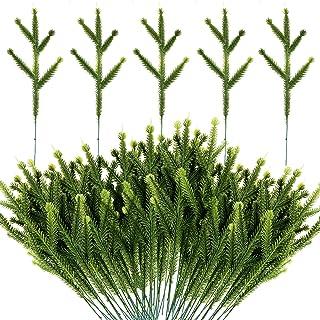 Alpurple 100 Packs Artificial Pine Needles Branches Garland-6.7x2.0 Inch Green Plants Pine Needles,Fake Greenery Pine Pick...