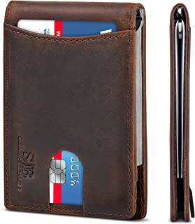 RFID Blocking Slim Bifold Genuine Leather Minimalist Front Pocket Wallets for Men with Money Clip Thin Mens Gift