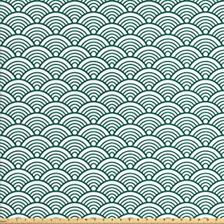 Ambesonne Teal Fabric by The Yard, Traditional Japanese Chinese Seigaiha Pattern Abstract Scales Inspirations, Decorative Fabric for Upholstery and Home Accents, 3 Yards, Jade White