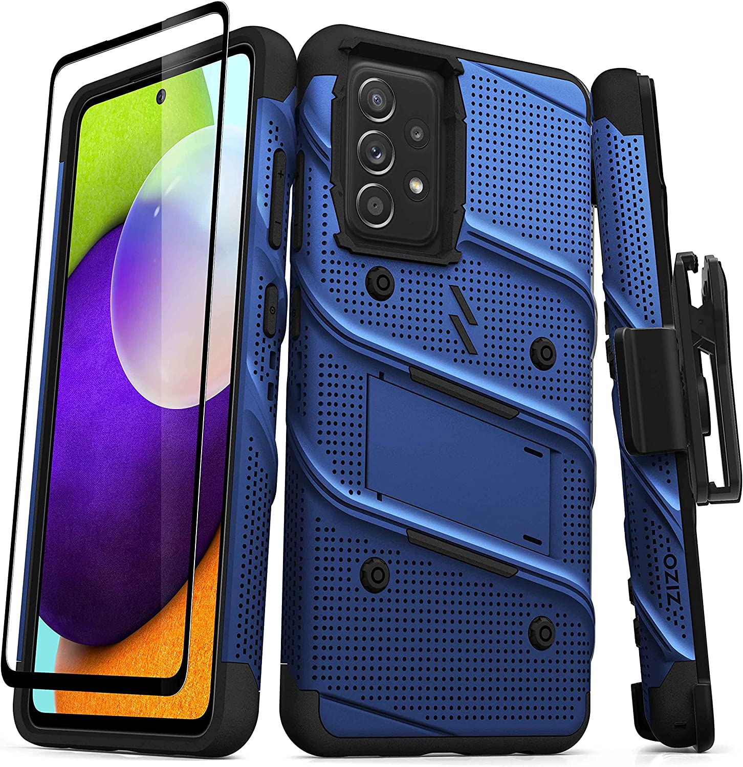 ZIZO Bolt Series for Galaxy A52 5G Case with Screen Protector Kickstand Holster Lanyard - Blue & Black