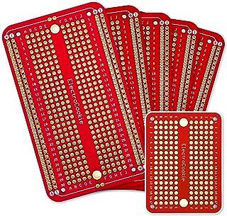 エレクトロクッキー ソルダブル ブレッドボード プリント基板 PCBボード Arduinoおよび電子工作用 金メッキ (5枚セット + ミニボード レッド )