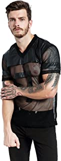 Mens Novelty Character T-Shirt Fashion Faux Leather Mesh Stitching Tees