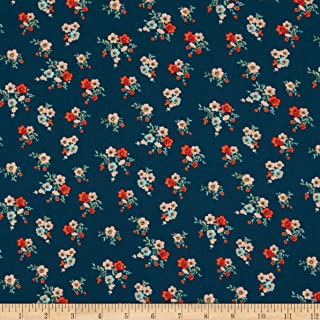 Fabric Merchants Double Brushed Poly Jersey Knit Mini Floral Bouquet Teal Fabric