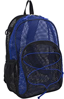 Eastsport Mesh Backpack With Bungee, Black/Indigo Blocked