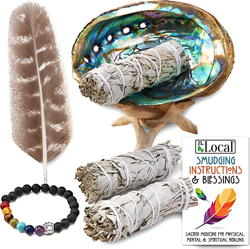 JL Local 3 White Sage Smudge Gift Kit Abalone Shell Feather Stand Instructions More Smudging Cleansing Healing Stress Relief