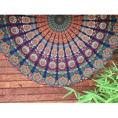 HANDICRAFTOFPINKCITY Indian Tapestry Mandala Round Roundie Hippie Beach Throw Boho Yoga Mat Bohemian Cotton Table Cloth 72''
