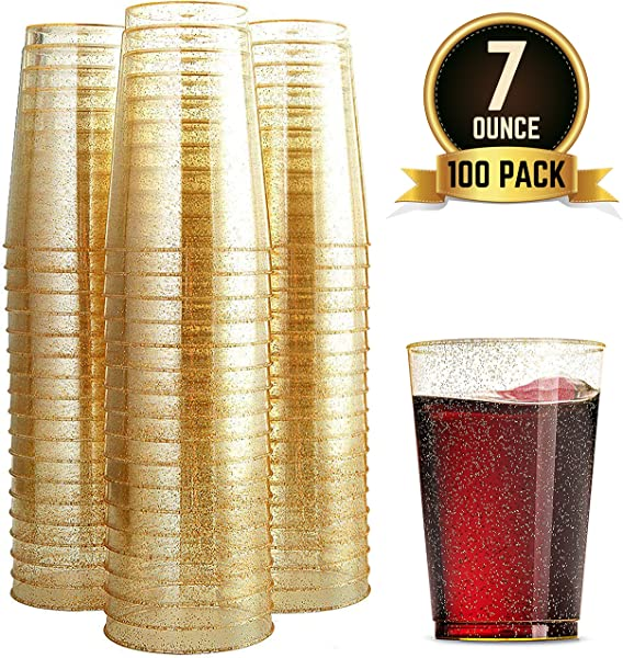 100 Glitter Plastic Cups 7 Oz Clear Plastic Cups Tumblers Gold Glitter Cups Disposable Wedding Cups Party Cups