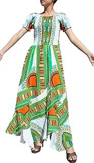 RaanPahMuang Africa Dashiki White Baby Doll Full Wild Smock Waist Ladies Dress