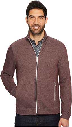 Perry Ellis Solid Heathered Full Zip Knit Jacket
