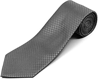 """100% Silk Extra Long Necktie for Big and Tall Men - Houndstooth Pattern - 63"""" XL or 70"""" XXL"""