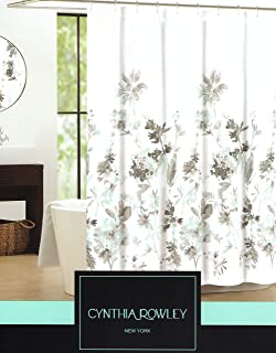 Cynthia Rowley Giacomo Cotton Fabric Shower Curtain Floral Botanical Nature Branches 72-Inch by 72-Inch Aqua Turquoise Gray