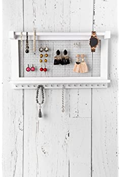 Comfify Rustic Jewelry Organizer – Wall Mounted Jewelry Holder Organizer with Removable Bracelet Rod and 16 Hooks – P...