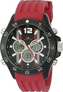 يو.اس. بولو اسن . ساعة رياضية للرجال كوارتز من المعدن والمطاط - اللون: احمر (US9525)
