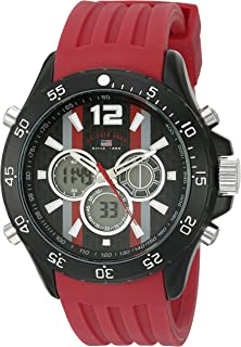 U.S. Polo Assn. Sport Men's Quartz Metal and Rubber Casual Watch, Color:Red US9525
