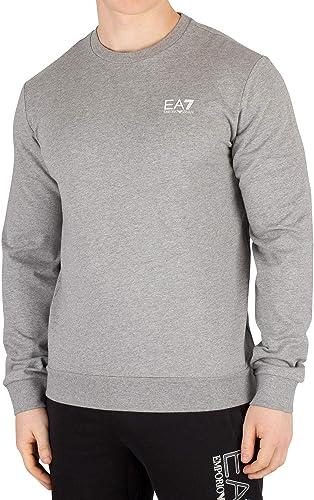 EA7 Homme Sweat-Shirt avec Logo sur la Poitrine, gris