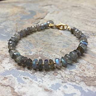 Labradorite Bracelet with Gold Vermeil, 7.5 inch