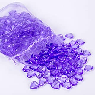 AiFanS 1LB(Approx 225Pcs) Purple Acrylic Heart Gems for Table Scatter Decoration or Vase Filler