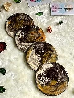 Posavasos con efecto mármol, marrón, beige y ocre Conjunto de 4+ piezas, 10 cm de diámetro