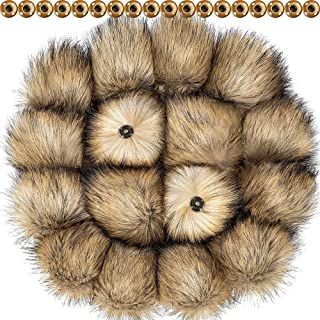 Tatuo DIY Faux Fur Pom Poms Ball with Press Button Removable Fluffy Pompom for Knitting Hats Shoes Scarves Bag Accessories (Natural Color, 16)