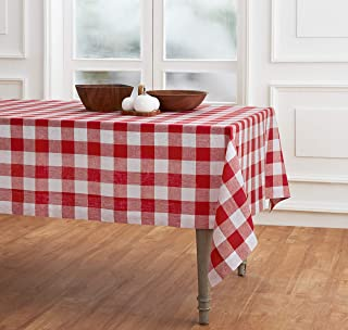 Solino Home 100% Pure Linen Buffalo Check Tablecloth - 60 x 90 Inch, Red & White - Rectangular Linen Tablecloth for Indoor...