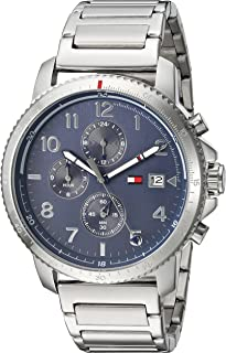 Tommy Hilfiger Men's Casual Sport Quartz Watch with Stainless-Steel Strap, Silver, 0.8 (Model: 1791360)